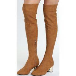 Camelowe Kozaki Electric. Szare buty zimowe damskie marki Born2be, na niskim obcasie, na słupku. Za 159,99 zł.