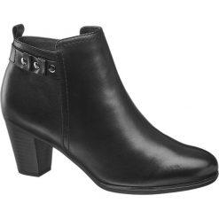 Botki damskie 5th Avenue czarne. Czarne botki damskie na obcasie marki 5th Avenue, z materiału, na zamek. Za 199,90 zł.