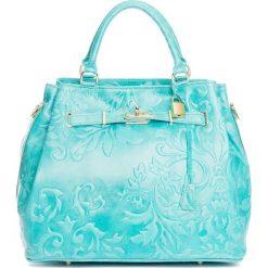 Torebki klasyczne damskie: Skórzana torebka w kolorze turkusowym – 40 x 21 x 31 cm