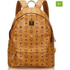 Plecaki damskie: Skórzany plecak w kolorze jasnobrązowym – 32 x 40 x 15,5 cm