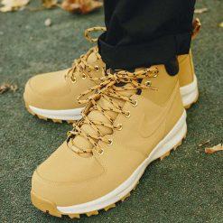 Buty Nike Manoa Leather (454350-700). Szare buty trekkingowe męskie Nike, z materiału, outdoorowe. Za 349,99 zł.
