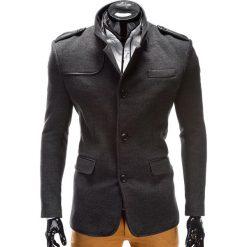 PŁASZCZ MĘSKI C92 AUGUSTIN - GRAFITOWY. Szare płaszcze na zamek męskie marki Ombre Clothing, m, z materiału, eleganckie. Za 145,00 zł.