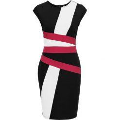 Sukienki: Sukienka bonprix biało-czarno-jagodowy