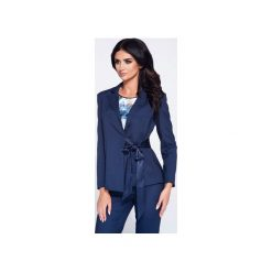 Elegancka marynarka damska z kokardą wiązaną w talii. Niebieskie marynarki i żakiety damskie marki Bien fashion, l, z tkaniny, biznesowe. Za 149,00 zł.