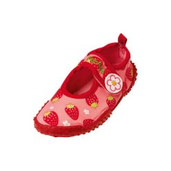 Playshoes  Girls Buciki do wody Truskawka kolor czerwony. Czerwone buciki niemowlęce Playshoes, z materiału. Za 49,00 zł.