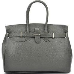 Torebki i plecaki damskie: Skórzana torebka w kolorze szarym – (S)28 x (W)37 x (G)17 cm