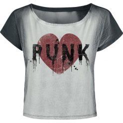 Outer Vision Punk Heart Koszulka damska szary. Szare bluzki z odkrytymi ramionami Outer Vision, l, z nadrukiem, z dekoltem w łódkę, z krótkim rękawem. Za 99,90 zł.