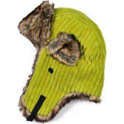 Czapka damska Uszanka Sztruksowa limonkowo-brązowa. Brązowe czapki zimowe damskie marki Art of Polo, ze sztruksu. Za 37,60 zł.