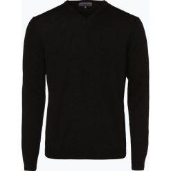 Finshley & Harding - Sweter męski z dodatkiem wełny merino, czarny. Czarne swetry klasyczne męskie marki Finshley & Harding, w kratkę. Za 129,95 zł.
