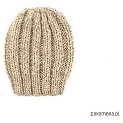 Beżowa grubaśna czapka robiona na drutach. Brązowe czapki zimowe damskie Pakamera. Za 86,00 zł.
