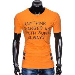 T-SHIRT MĘSKI Z NADRUKIEM S986 - POMARAŃCZOWY. Brązowe t-shirty męskie z nadrukiem Ombre Clothing, m. Za 29,00 zł.