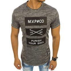 T-shirty męskie z nadrukiem: T-shirt męski z nadrukiem antracytowy (rx2132)
