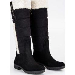 CIEPŁE ZAMSZOWE KOZAKI. Białe buty zimowe damskie marki Merg. Za 52,90 zł.