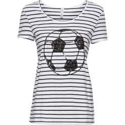 T-shirt bonprix czarno-biały w paski. Białe t-shirty damskie bonprix, z aplikacjami, z okrągłym kołnierzem. Za 69,99 zł.