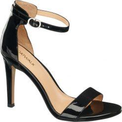 Sandały damskie na obcasie Catwalk czarne. Czarne rzymianki damskie Catwalk, z lakierowanej skóry, na obcasie. Za 119,90 zł.