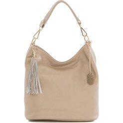 Torebki klasyczne damskie: Skórzana torebka w kolorze beżowym – 26 x 28 x 12 cm