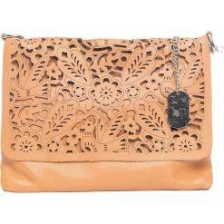 Torebki klasyczne damskie: Skórzana torebka w kolorze jasnobrązowym – 27 x 22 x 1 cm