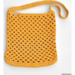 Szydełkowa torba shopperka ażurowa - żółta. Żółte torebki klasyczne damskie Pakamera, w ażurowe wzory, z bawełny. Za 129,00 zł.