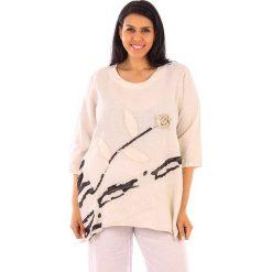 T-shirty damskie: Lniana koszulka w kolorze beżowym