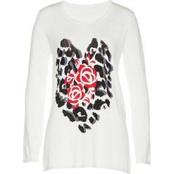 Swetry klasyczne damskie: Sweter bonprix biel wełny - czarno-truskawkowy