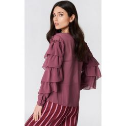 Bluzki asymetryczne: NA-KD Boho Szyfonowa bluzka z dekoltem V - Purple