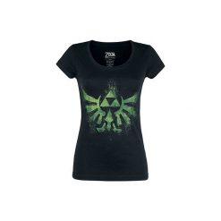 The Legend Of Zelda Hyrule Logo Koszulka damska czarny. Czarne bluzki asymetryczne The Legend Of Zelda, s, z nadrukiem, z okrągłym kołnierzem. Za 74,90 zł.