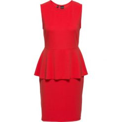 Sukienka z baskinką, z kreszowanego dżerseju bonprix truskawkowy. Czerwone sukienki hiszpanki bonprix, z dżerseju, bez rękawów, baskinki. Za 89,99 zł.