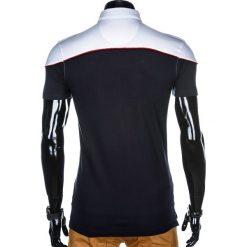 KOSZULKA MĘSKA POLO BEZ NADRUKU S878 - BIAŁA/GRANATOWA. Białe koszulki polo marki Ombre Clothing, m, z nadrukiem. Za 39,00 zł.
