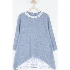 Sukienka. Niebieskie sukienki dziewczęce dzianinowe HEART SMILE, w koronkowe wzory, z długim rękawem, długie. Za 89,90 zł.