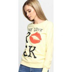 Bluzy damskie: Żółta Bluza Kiss Back