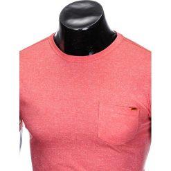 T-SHIRT MĘSKI BEZ NADRUKU S885 - KORALOWY. Czarne t-shirty męskie z nadrukiem marki Ombre Clothing, m, z bawełny, z kapturem. Za 19,99 zł.