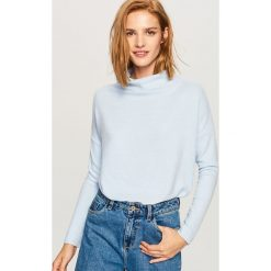 Sweter z szeroką stójką - Niebieski. Niebieskie swetry klasyczne damskie Reserved, l, ze stójką. Za 59,99 zł.