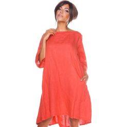 """Sukienki hiszpanki: Lniana sukienka """"Suzon"""" w kolorze koralowym"""