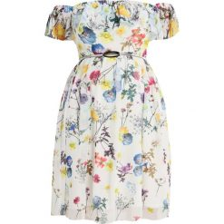 Sukienki hiszpanki: Little Mistress Curvy PRITNED BARDOT DRESS Sukienka letnia white