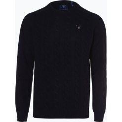Gant - Sweter męski, niebieski. Niebieskie swetry klasyczne męskie GANT, m, z haftami, z wełny, z klasycznym kołnierzykiem. Za 589,95 zł.