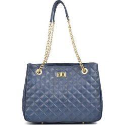Torebki klasyczne damskie: Skórzana torebka w kolorze niebieskim – (S)26 x (W)33 x (G)15 cm