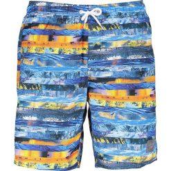 Szorty kąpielowe w kolorze niebieskim ze wzorem. Niebieskie kąpielówki męskie marki Speedo, klasyczne. W wyprzedaży za 117,95 zł.