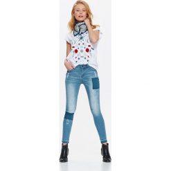 Spodnie damskie: SPODNIE DŁUGIE DAMSKIE, JEANSY RURKI Z ŁATAMI