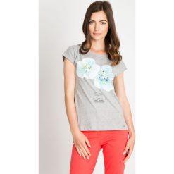 Bluzki damskie: Szara bluzka z błękitnymi kwiatami QUIOSQUE