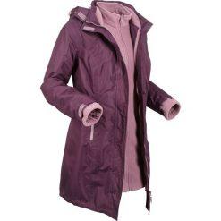 Krótki płaszcz funkcyjny 3 w 1 z kapturem bonprix czarny bez - matowy fioletowy. Fioletowe płaszcze damskie bonprix, z polaru. Za 269,99 zł.