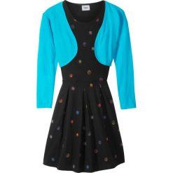 Sukienki dziewczęce: Sukienka + bolerko (2 części) bonprix czarno-różowy
