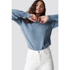 Swetry klasyczne damskie: NA-KD Sweter z okrągłym dekoltem - Blue