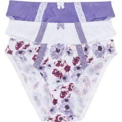 Figi (3 pary) bonprix z nadrukiem + biały + lila. Białe figi bonprix, z nadrukiem, z bawełny. Za 53,97 zł.