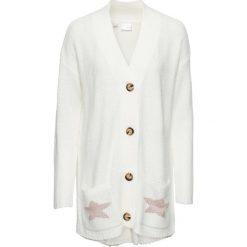 Sweter rozpinany bonprix biel wełny melanż. Białe kardigany damskie marki bonprix, z wełny. Za 44,99 zł.
