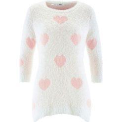 Swetry klasyczne damskie: Długi sweter, rękawy 3/4 bonprix biel wełny – pastelowy jasnoróżowy