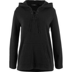 Bluzy rozpinane damskie: Bluza z kapturem i dłuższym tyłem bonprix czarny