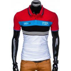 KOSZULKA MĘSKA POLO BEZ NADRUKU S913 - CZERWONA. Czerwone koszulki polo Ombre Clothing, m, z nadrukiem. Za 49,00 zł.