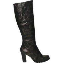 Kozaki ocieplane - Z880 PIT BRON. Czarne buty zimowe damskie marki Venezia, z materiału, na obcasie. Za 239,00 zł.