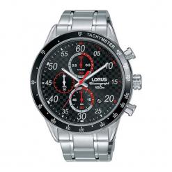 """Zegarek """"RM331EX9"""" w kolorze srebrnym. Czarne, analogowe zegarki męskie marki Lorus, Pulsar, ze stali. W wyprzedaży za 249,95 zł."""
