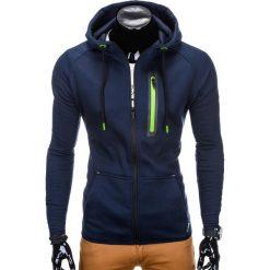 BLUZA MĘSKA ROZPINANA Z KAPTUREM B747 - GRANATOWA. Niebieskie bluzy męskie rozpinane Ombre Clothing, m, z bawełny, z kapturem. Za 69,00 zł.